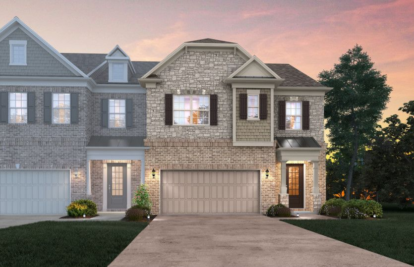 Exterior:Fulton Exterior 6 features brick, stone, shakes, covered front door and 2 car garage