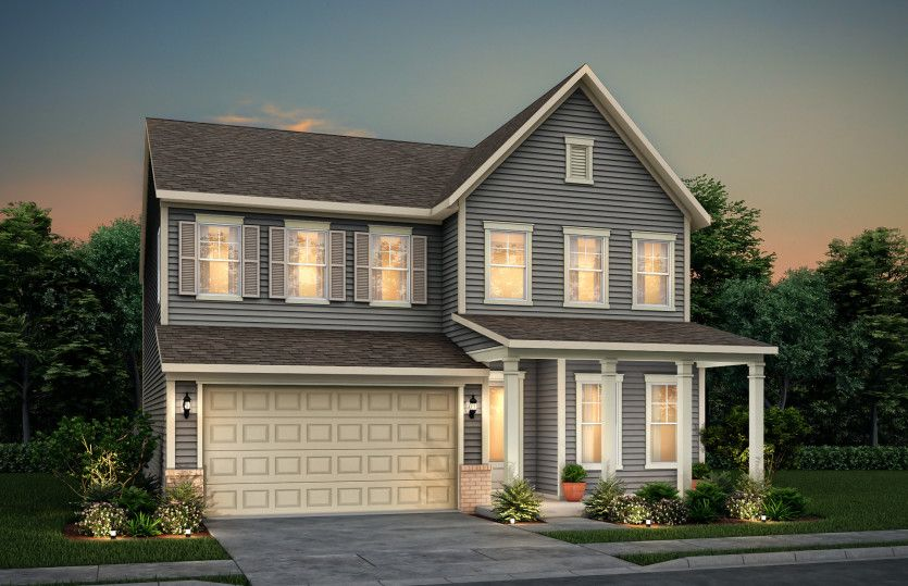 Continental:Continental exterior 17 features siding, brick accents, covered front porch and 2 car garage