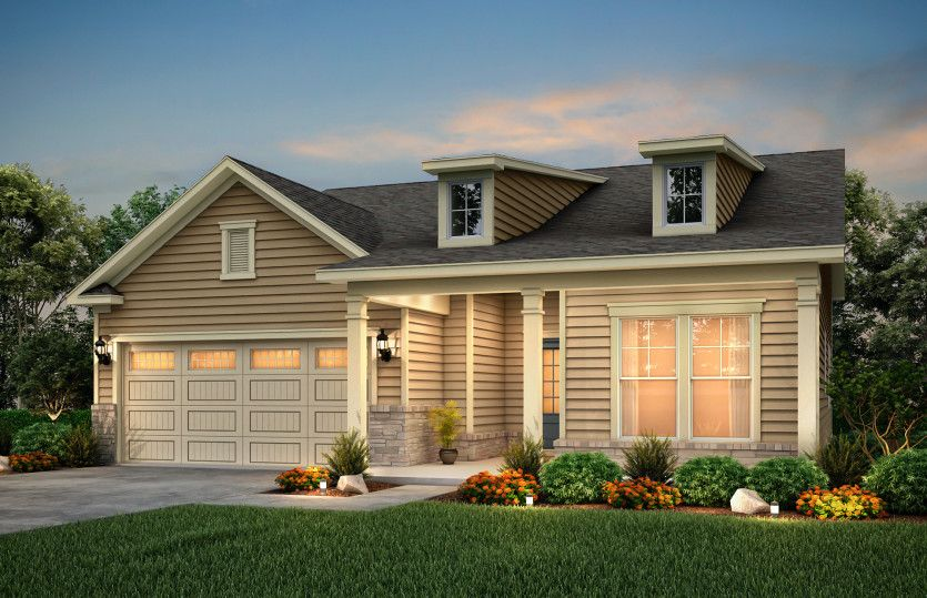 Bedrock:Bedrock Exterior LC2H features siding, stone accents and covered front porch