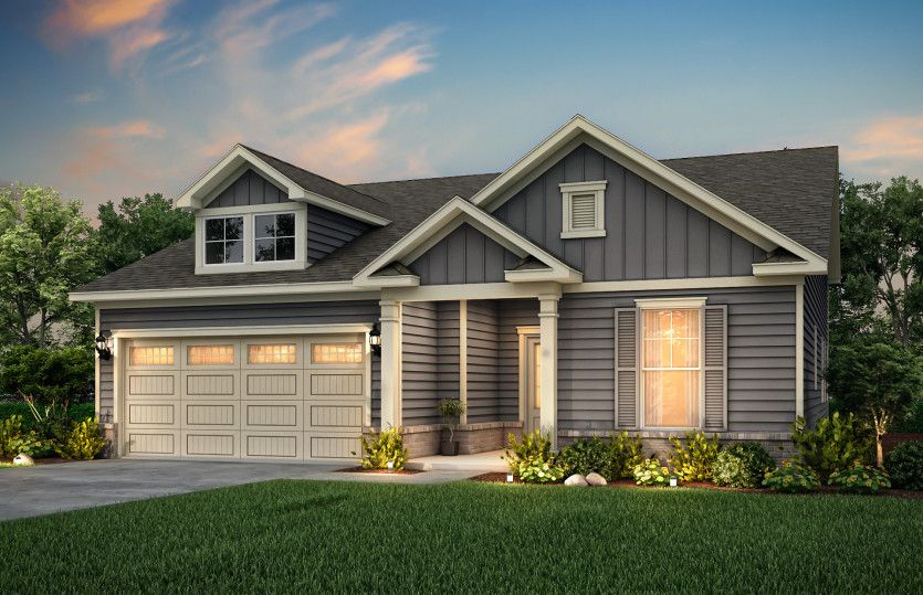 Bedrock:Bedrock new home Exterior LC2G with brick accent and covered front door.