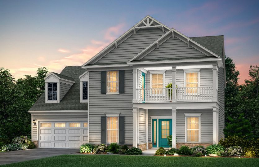 Northridge:Northridge Exterior 4 features siding, stone accents and double front porch.