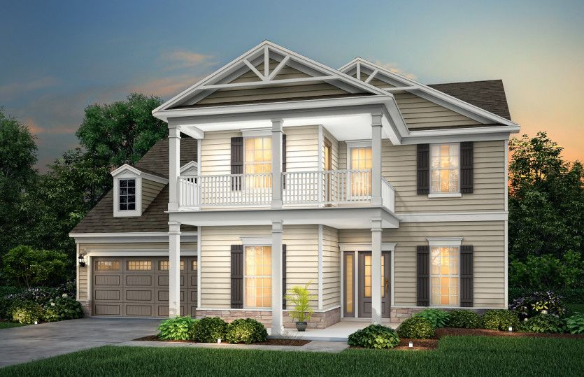 Riverview:Riverview Exterior 4 features siding, stone accents and double front porch