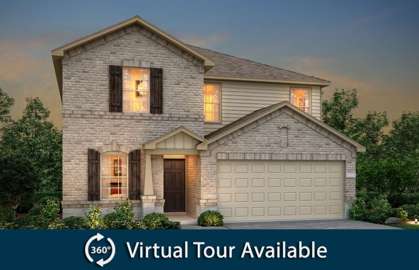 Sandalwood:The Sandalwood, a two-story home with 2-car garage, shown with Home Exterior Q