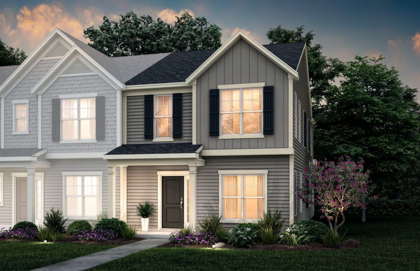 Griffin:Griffin Exterior 1 features siding, covered front porch and 1-car rear load garage