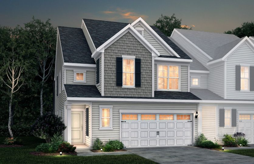 Exterior:Palomino Exterior 1 features siding, shakes, covered front door and 2-car front load garage