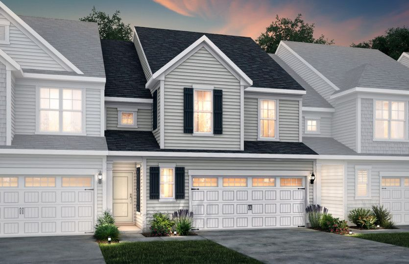 Exterior:Palomino Exterior 4 features siding, covered front door and 2-car front load garage