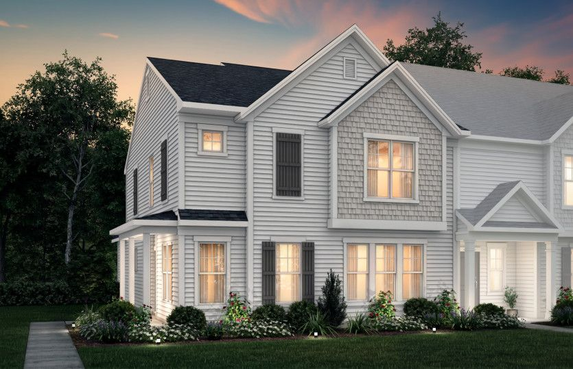 Sharon:Sharon Exterior 21B features siding, shakes, covered front door and 2-car rear load garage