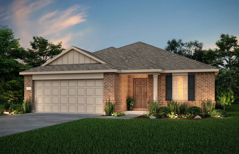 Exterior:The Morgan, a one-story home with 2-car garage, shown with Home Exterior LS204