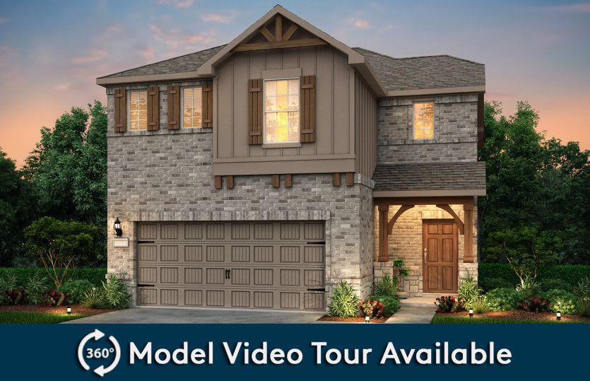 Sienna:The Sienna, a two-story home with 2-car garage, shown with Home Exterior S