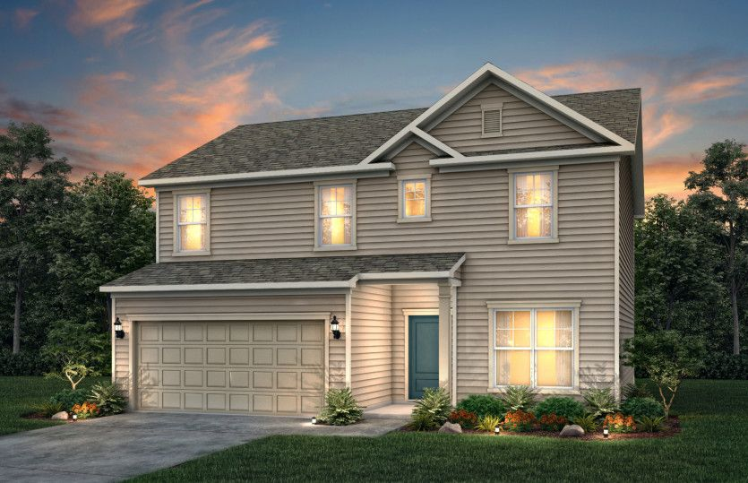 Aspire:Aspire Exterior LC1A features hardie board siding, covered front door and 2 car garage