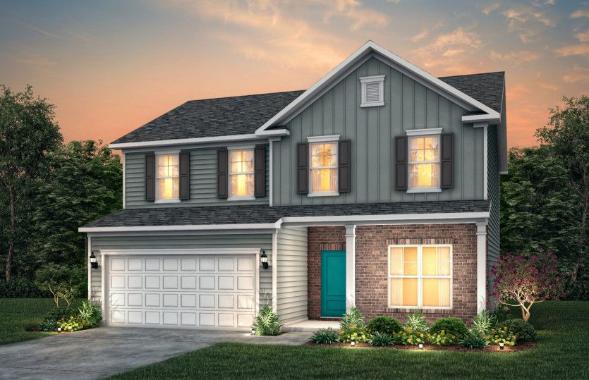 Exterior:Aspire Exterior LC2M features hardie board siding, brick, covered porch and 2 car garage