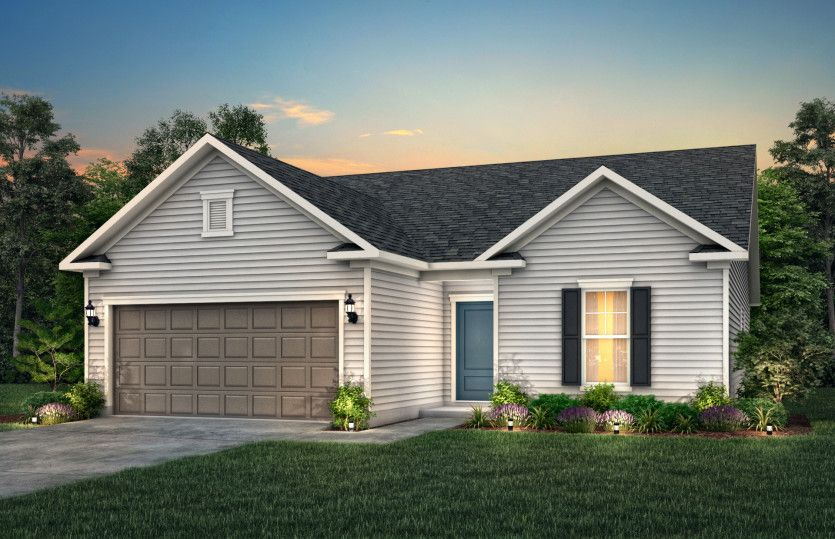 Compton:Compton Exterior LC1A features hardie siding, covered front door and 2 car garage