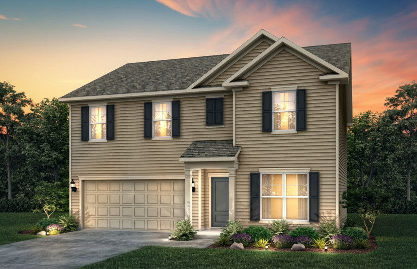 Hampton:Hampton Exterior LC1A features hardie siding, covered front door and 2 car garage