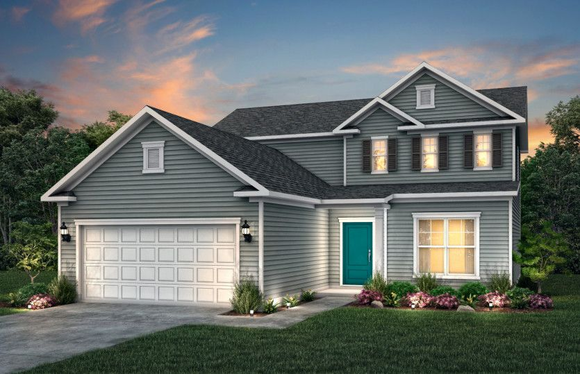 Hartwell:Hartwell Exterior LC1A features hardie siding, covered front door and 2 car garage