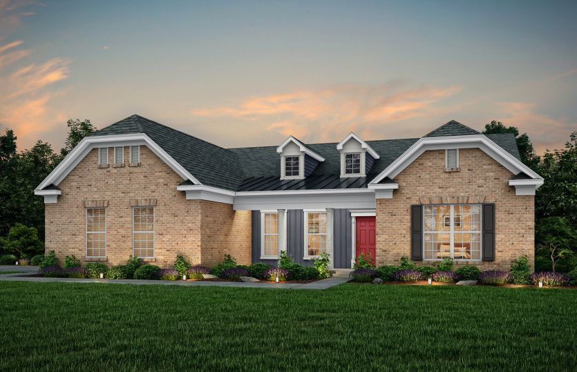 Tangerly Oak:Tangerly Oak Exterior 8 features brick, siding, covered front porch and 2 car side load garage