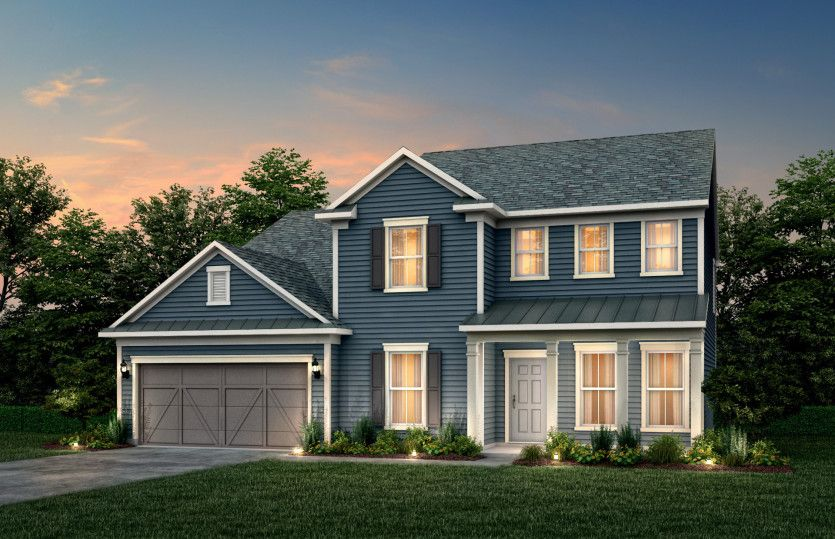 Exterior:Riverton Exterior 55 features Hardie Board siding, covered front porch and 2 car garage