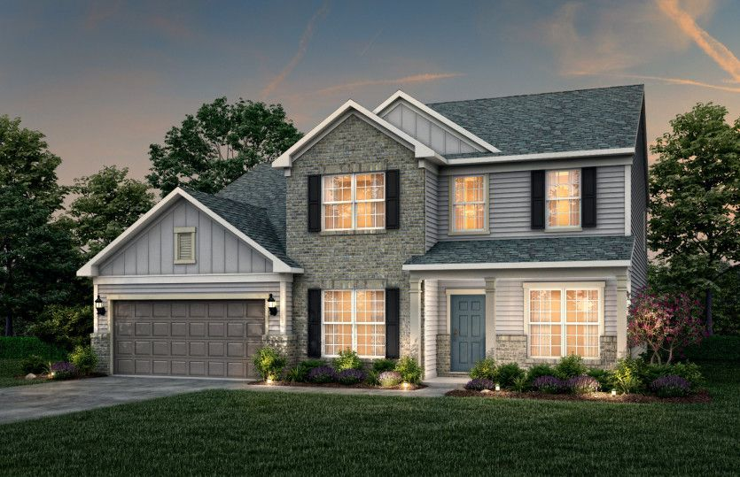 Exterior:Riverton Exterior 5 features Brick, Hardie Board siding, covered front porch and 2 car garage