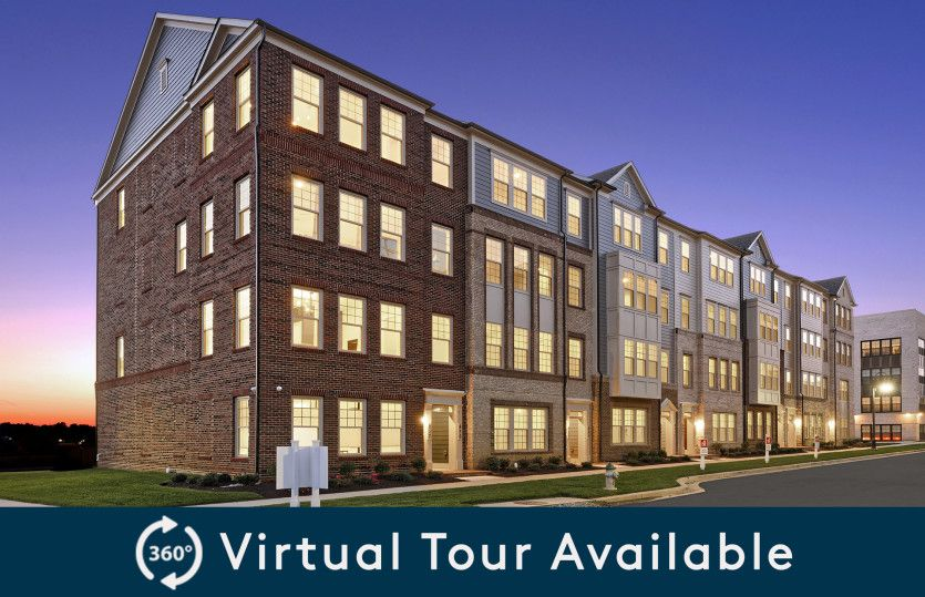 Exterior:Model Representation - New 2-Level Luxury Condos Featuring a 1-Car Garage at Crown in Gaithersburg, MD.