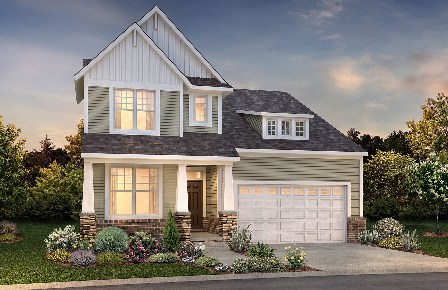 Exterior of New Home in Wixom MI:Charleston Home Exterior