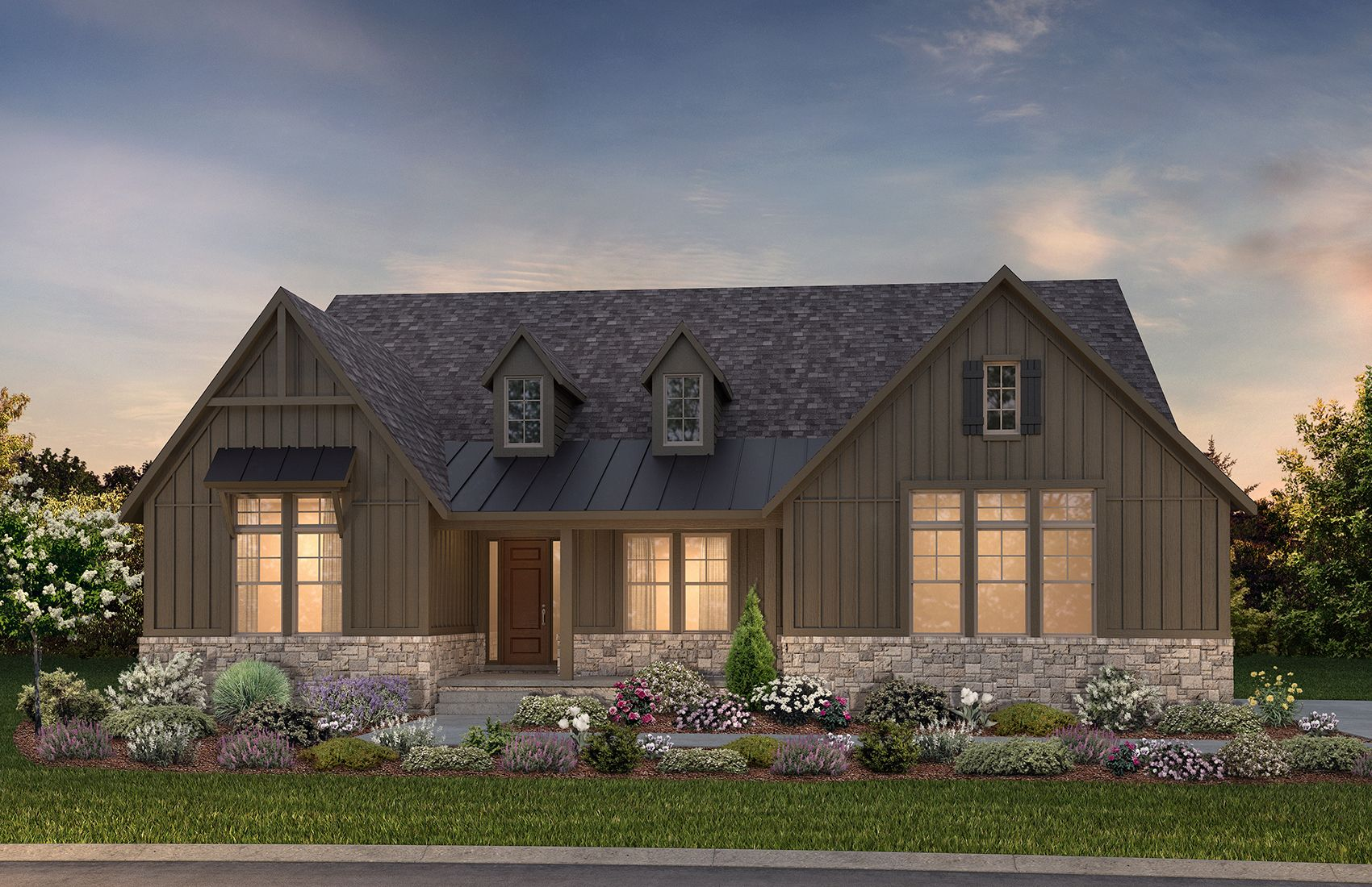 Exterior rendering of ranch home:Hickory Modern Farm