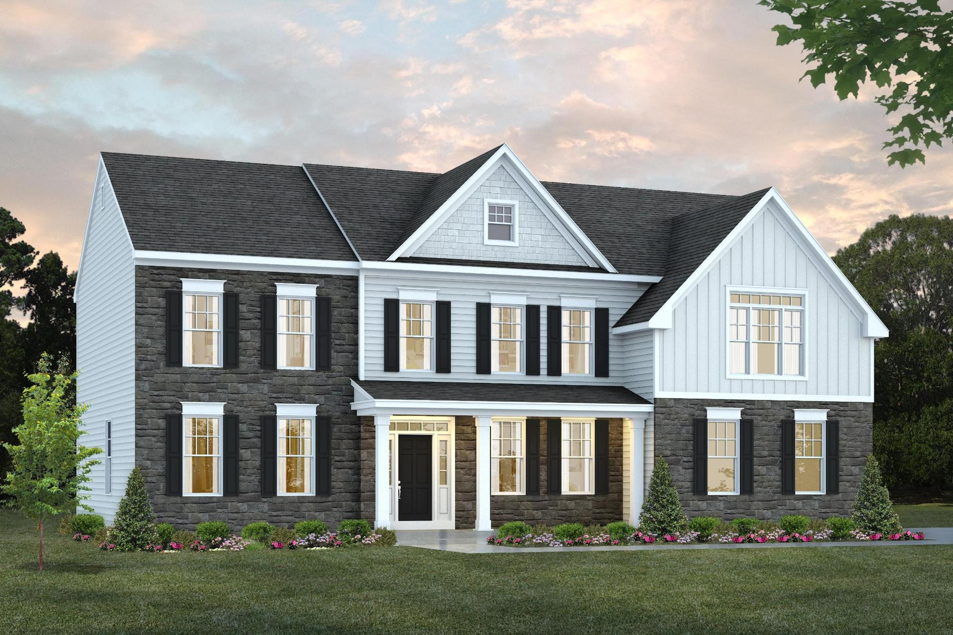 Rendering of a large single-family home with white siding and brown stone siding:Ashford's Luxury Single-Family Homes