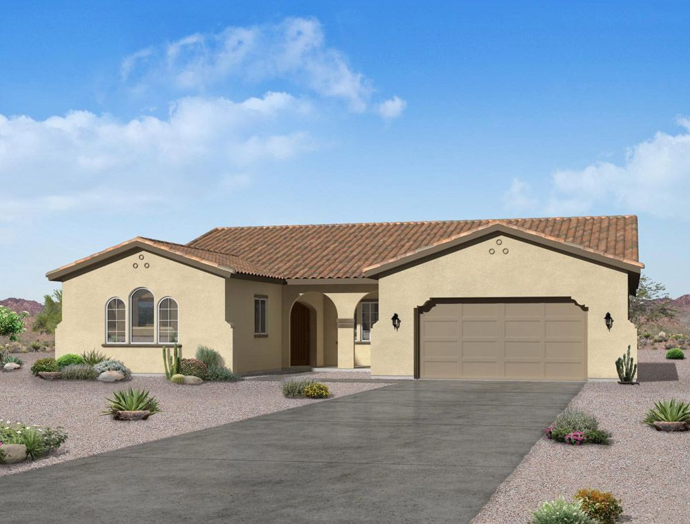 Spanish exterior elevation rendering Chaucer floor plan by William Ryan Homes Phoenix:Chaucer- Spanish Exterior