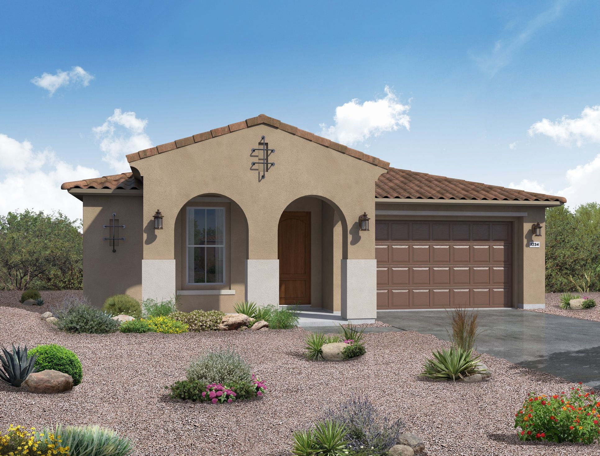 Spanish exterior elevation rendering Jimson floor plan by William Ryan Homes Phoenix:Jimson at Vistancia - Spanish Exterior