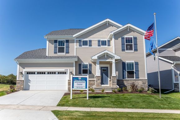 Woods Farm Fordham II model home front exterior lawn view new homes for sale in Wisconsin William...:Fordham II - Model Home - Exterior