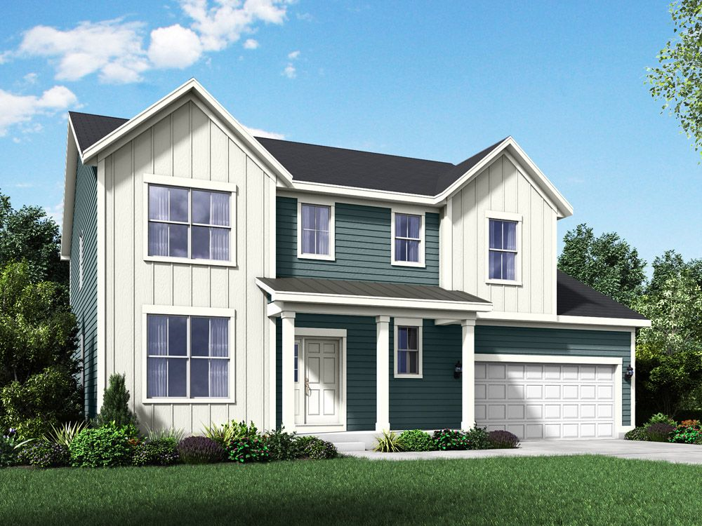 farmhouse exterior elevation rendering Sheridan II by William Ryan Homes:Sheridan II - Farmhouse