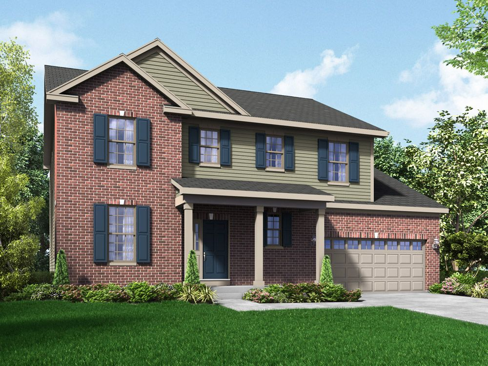 Williamsburg exterior elevation rendering Sheridan II Stonebridge in Hawthorn Woods IL by William...:Sheridan II - Stonebridge - Williamsburg