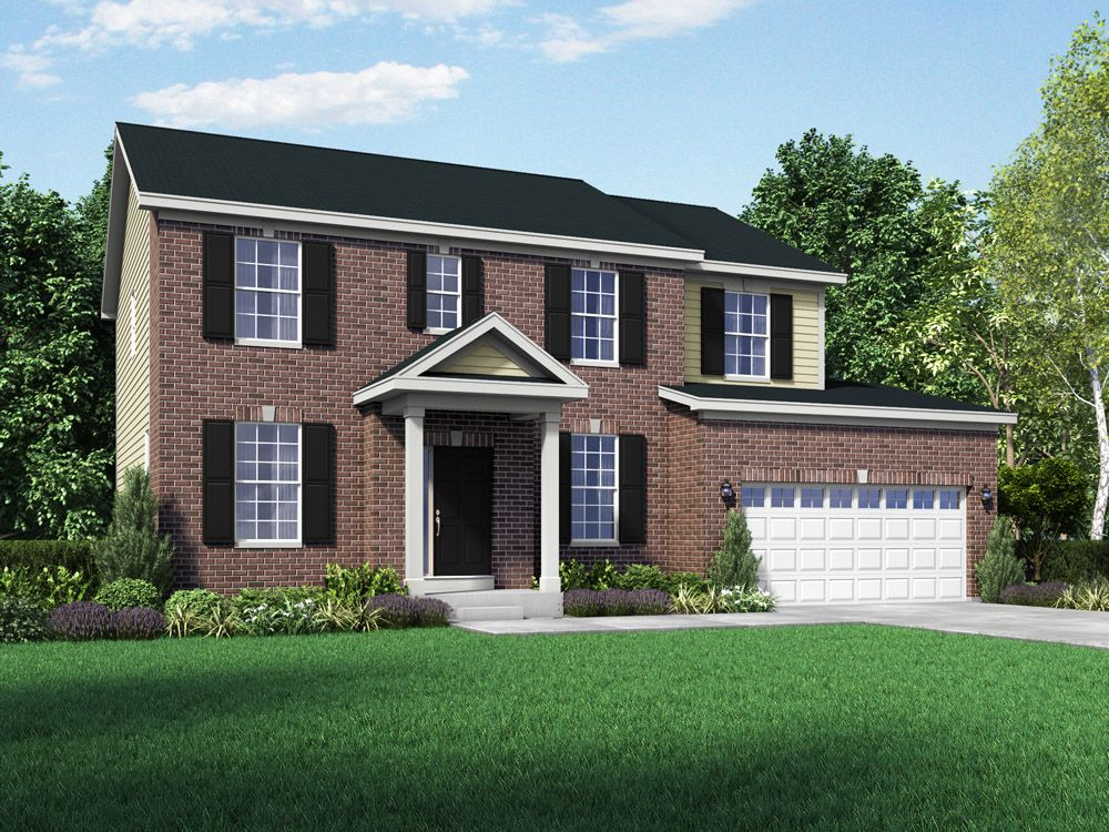 Williamsburg exterior elevation rendering Stratford II at Stonebridge in Hawthorn Woods IL by Wil...:The Stratford II - Stonebridge - Williamsburg