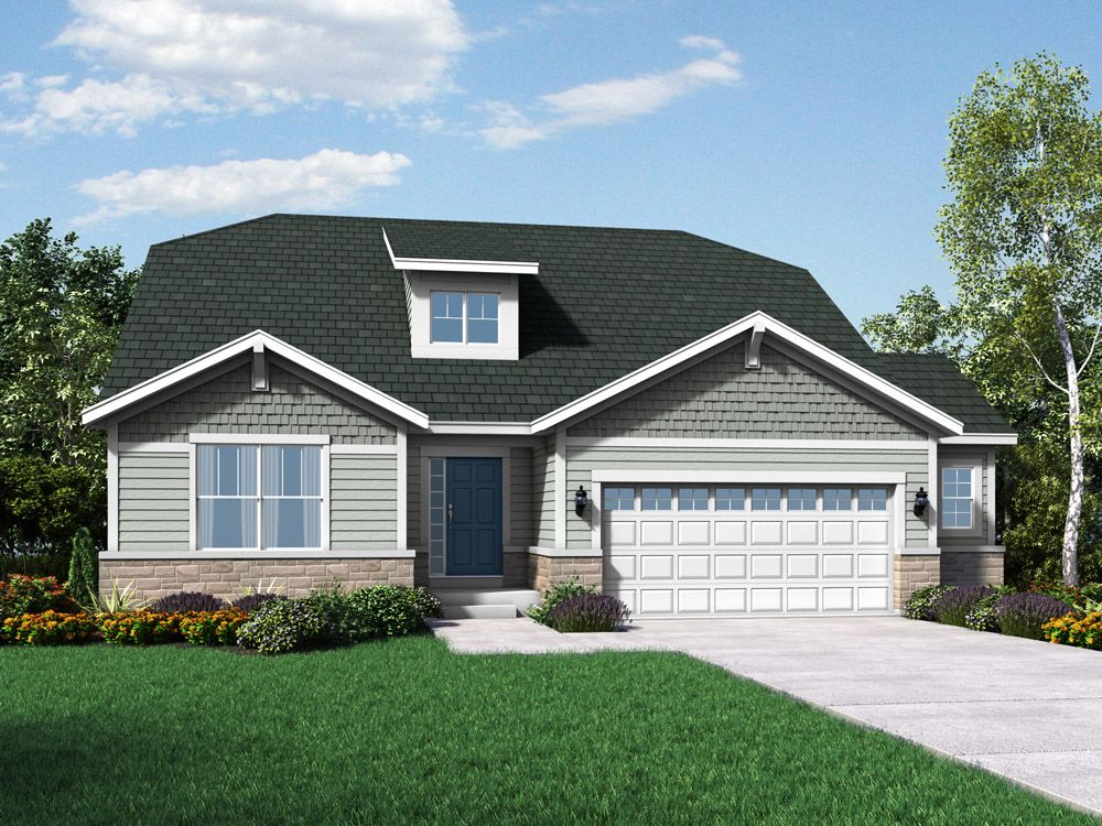 Cape May craftsman exterior elevation rendering by William Ryan Homes:The Cape May - Stonebridge - Craftsman