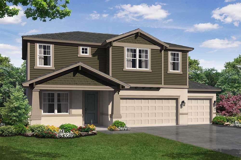 Sandalwood 3 car garage Craftsman elevation William Ryan Homes Tampa:Sandalwood 3-Car Garage - Craftsman Elevation