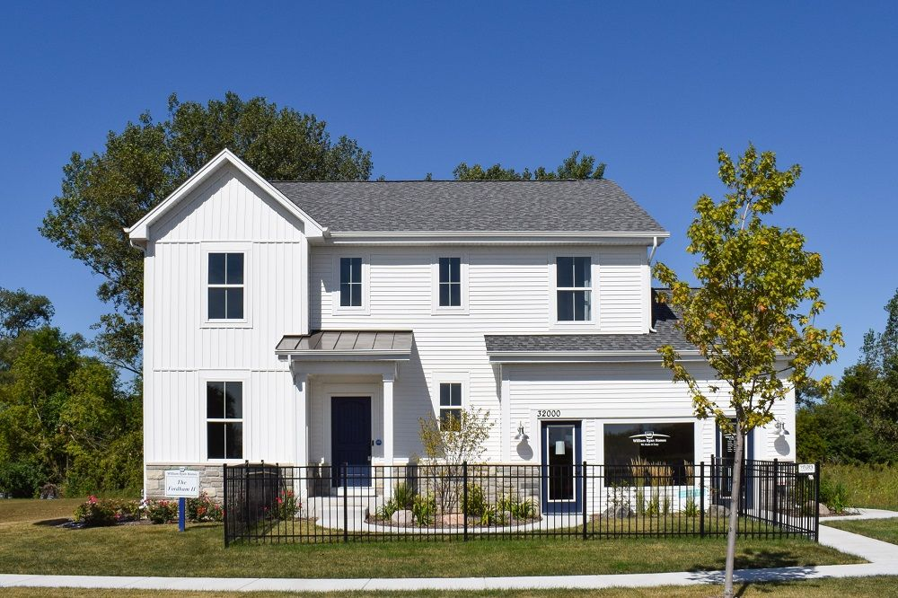 Farmhouse with Stone Exterior  Fordham II new home for sale Savannah in Lakemoor, IL by William R...:Fordham II Model Home - Farmhouse with Stone Exterior - Savannah