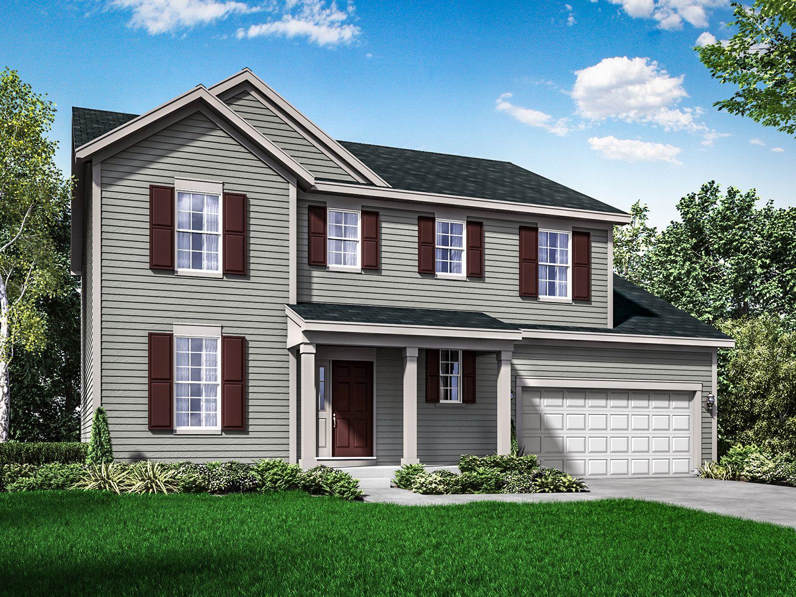Colonial exterior elevation rendering Sheridan II by William Ryan Homes:Sheridan II - Colonial