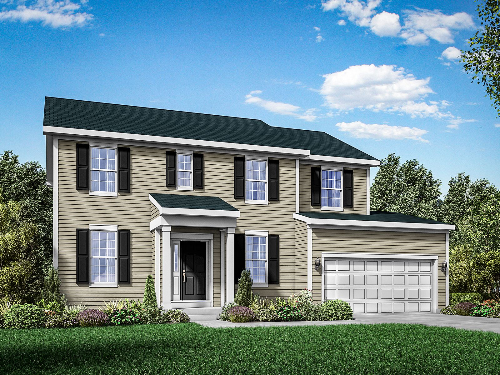 Colonial exterior elevation rendering Stratford II by William Ryan Homes:Stratford II - Colonial
