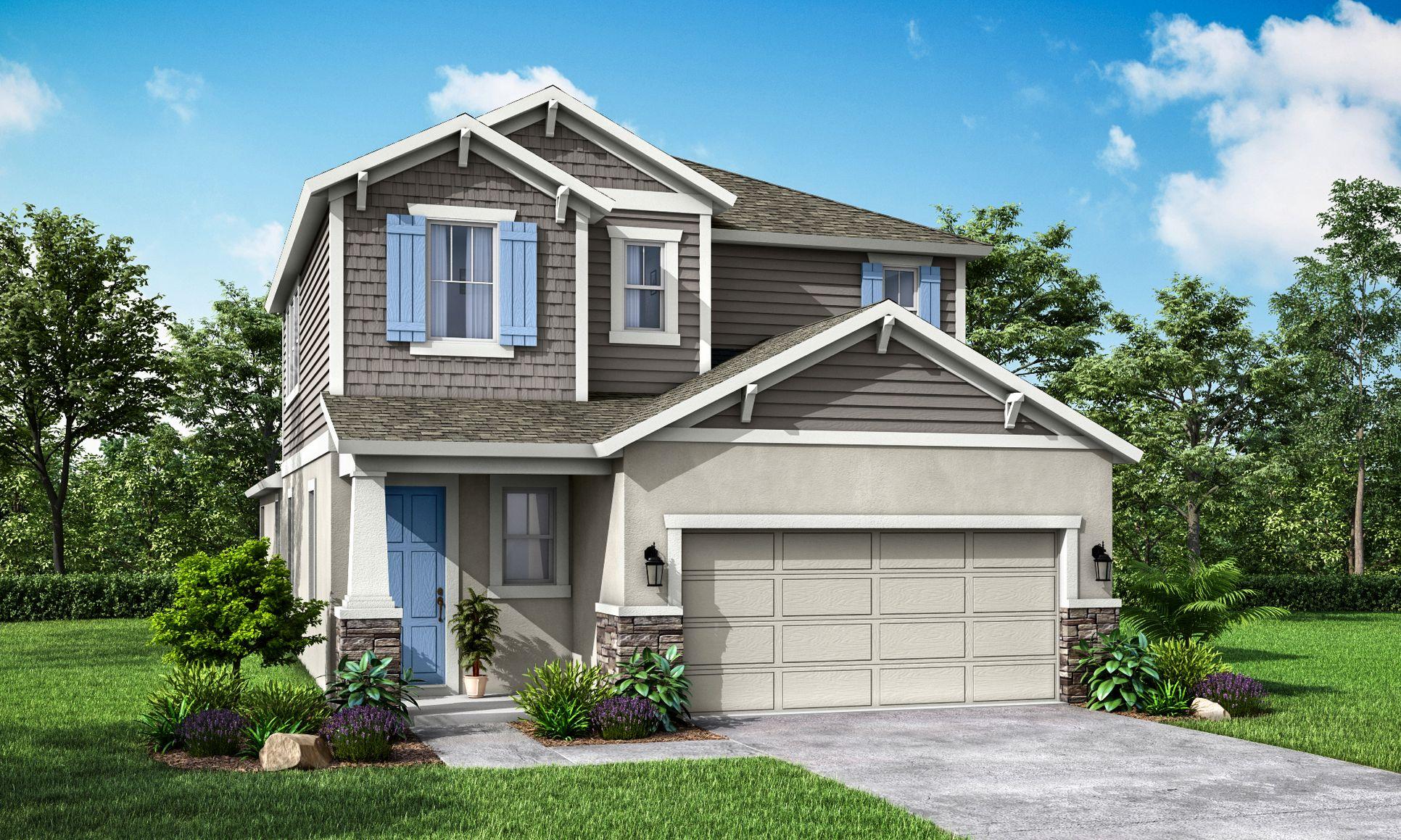 "Sandhill Craftsman Elevation ""B"" with Stone -William Ryan Homes Tampa:Sandhill Craftsman Elevation ""B"" with Stone"