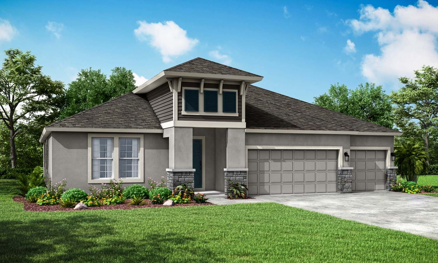 Sapphire new home exterior elevation costal with stone William Ryan Homes Tampa:Sapphire New Home - Exterior Elevation - Coastal with Stone