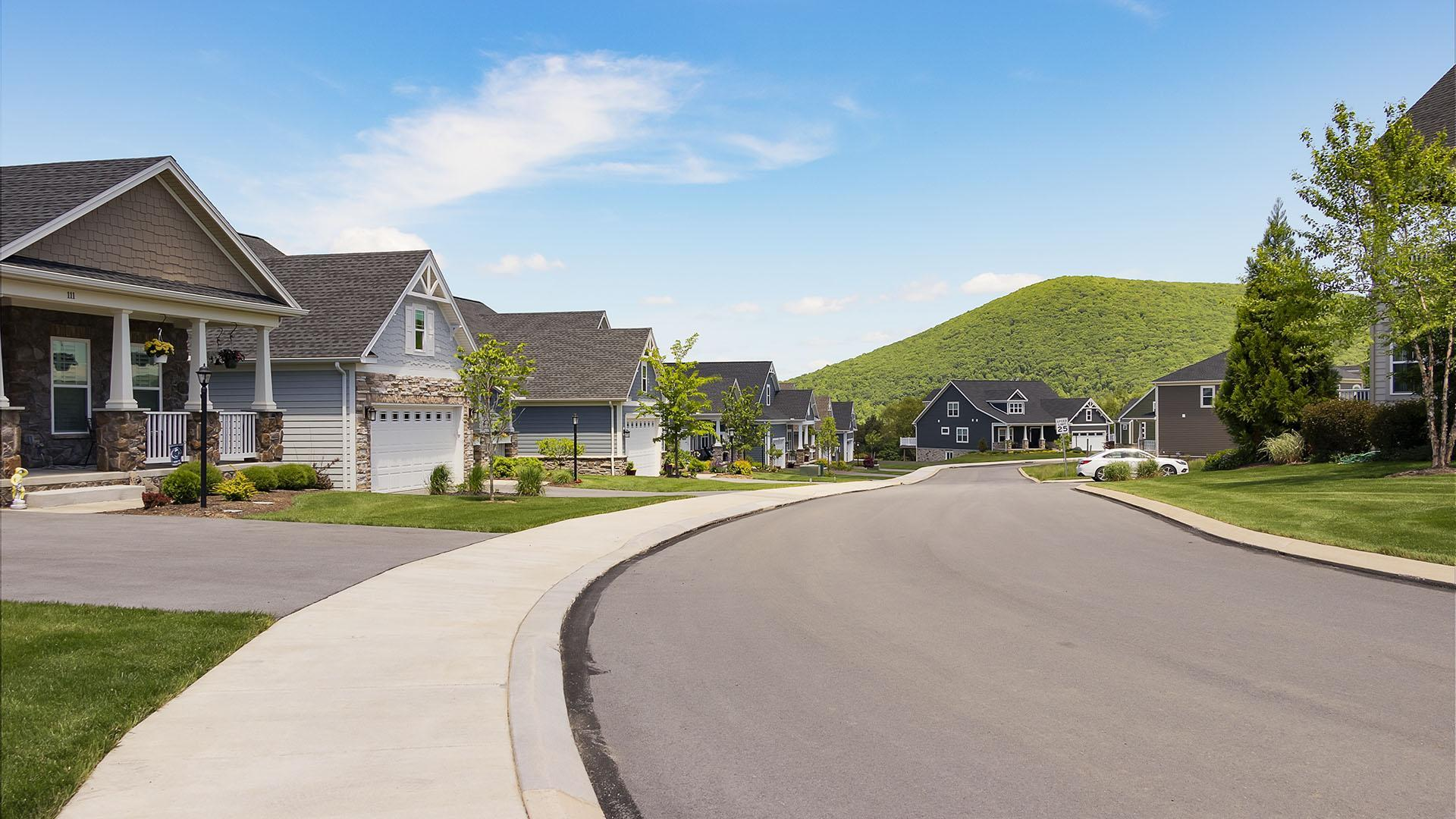 The Village at Canterbury:Community streetscape - view of Mt. Nittany