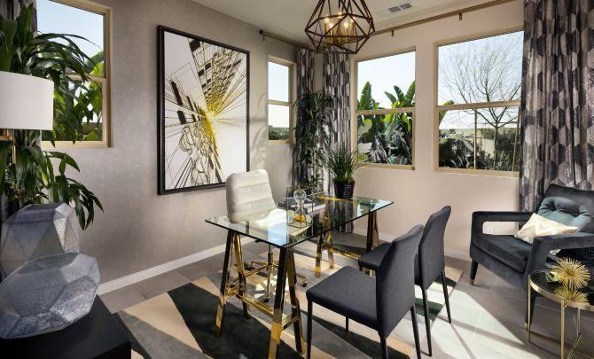 Plan 3 office with desk, chandelier, desk chair, c