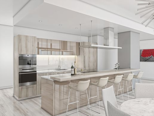 Custom Snaidero Cabinetry Imported from Italy. Artist rendering only.