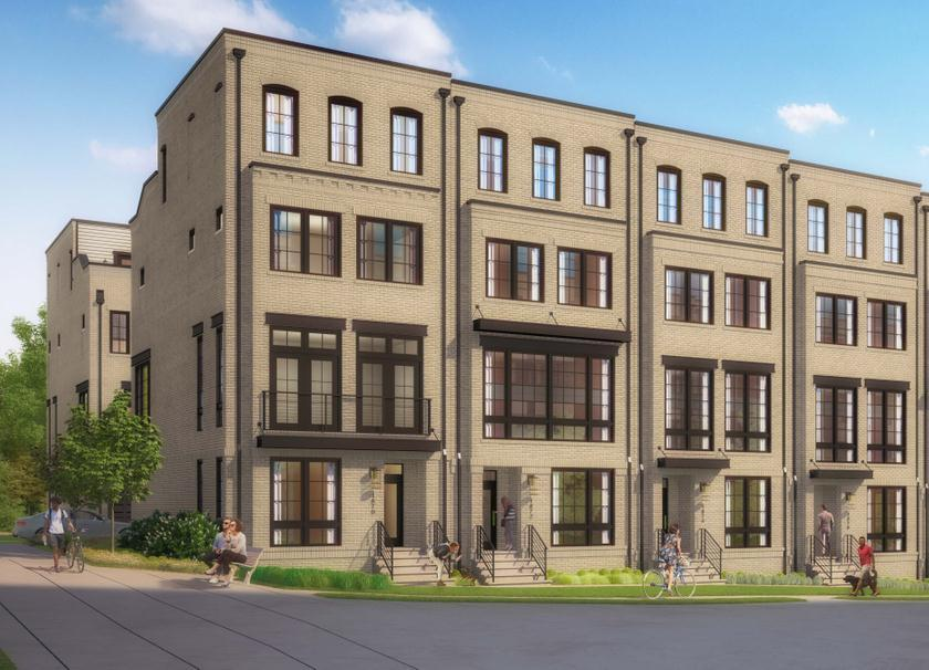 Union Towns Reston Station Exterior: The stunning sand exterior is a perfect entryway to exceptional living.