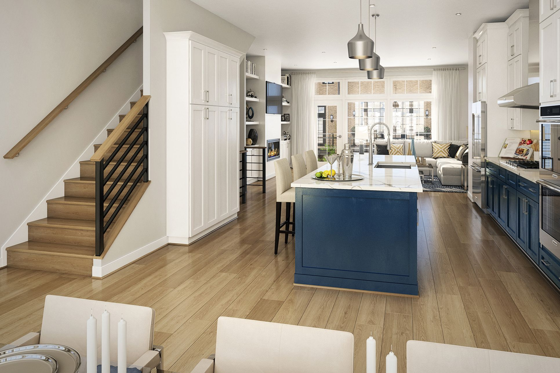 The Hayden at Union Towns Reston Station:Seating and storage are essential in this spacious kitchen.