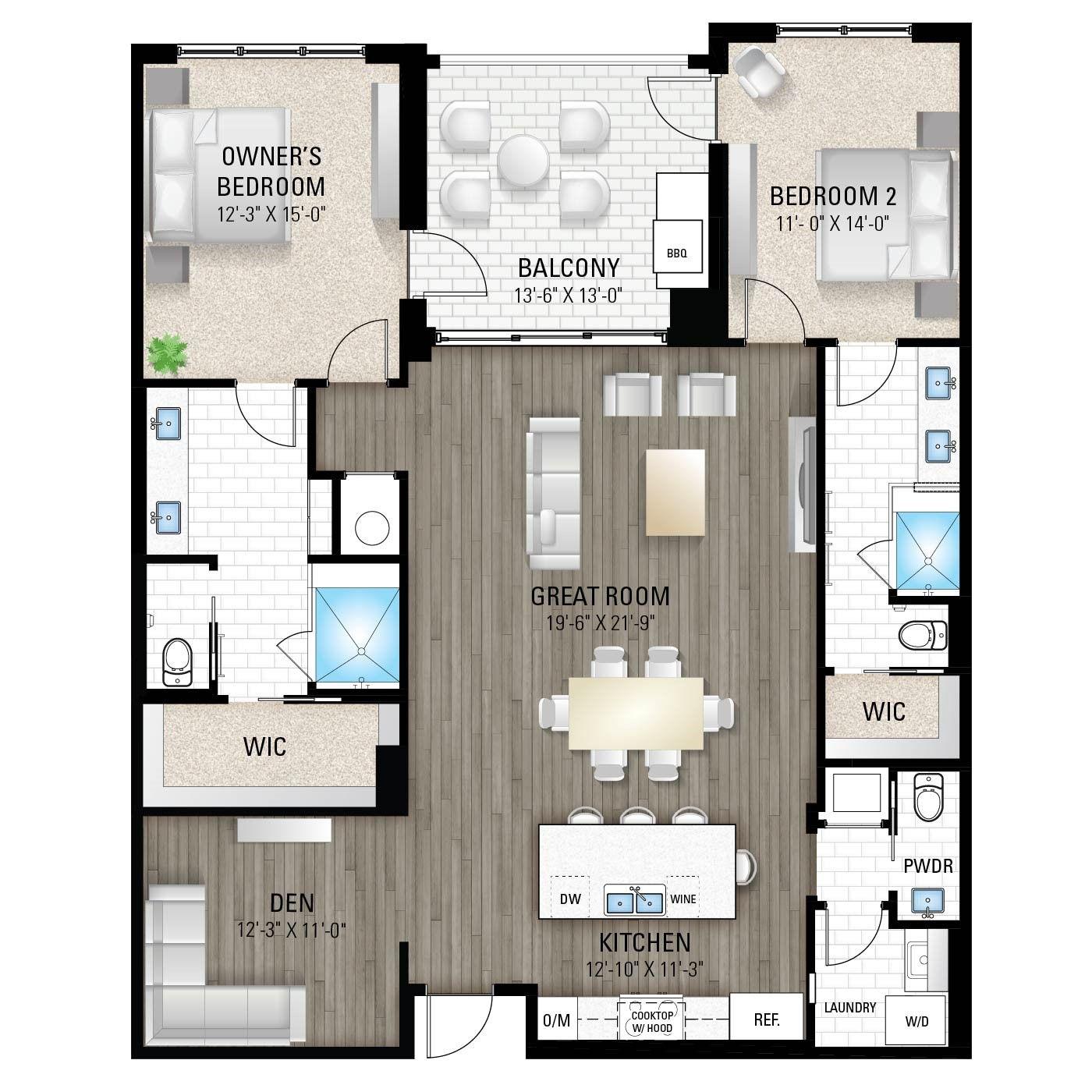 The Acacia:2 Bedrooms / 2.5 Baths / Den