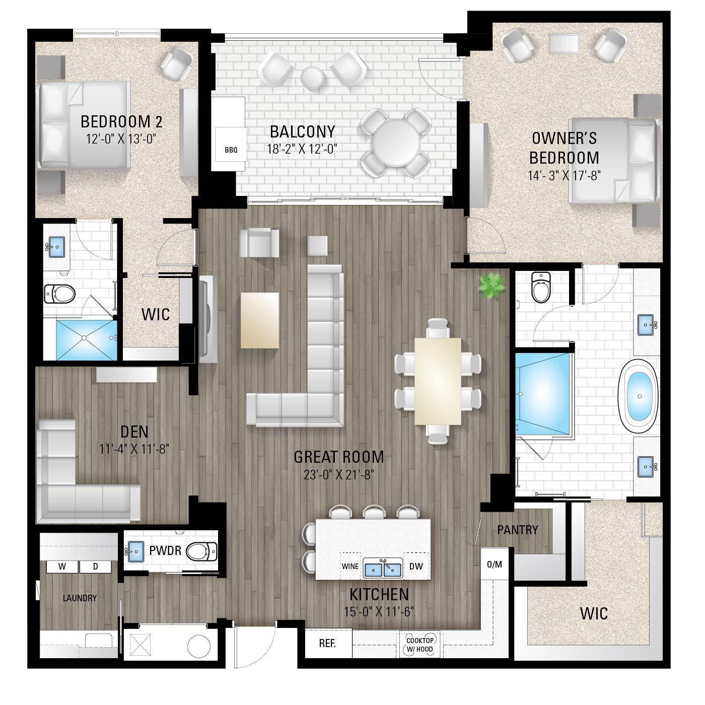 The Boca 2:2 Bedrooms / 2.5 Baths / Den