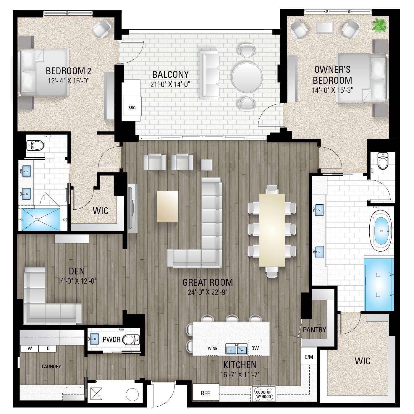 Captiva 2:2 Bedrooms / 2.5 Baths / Den