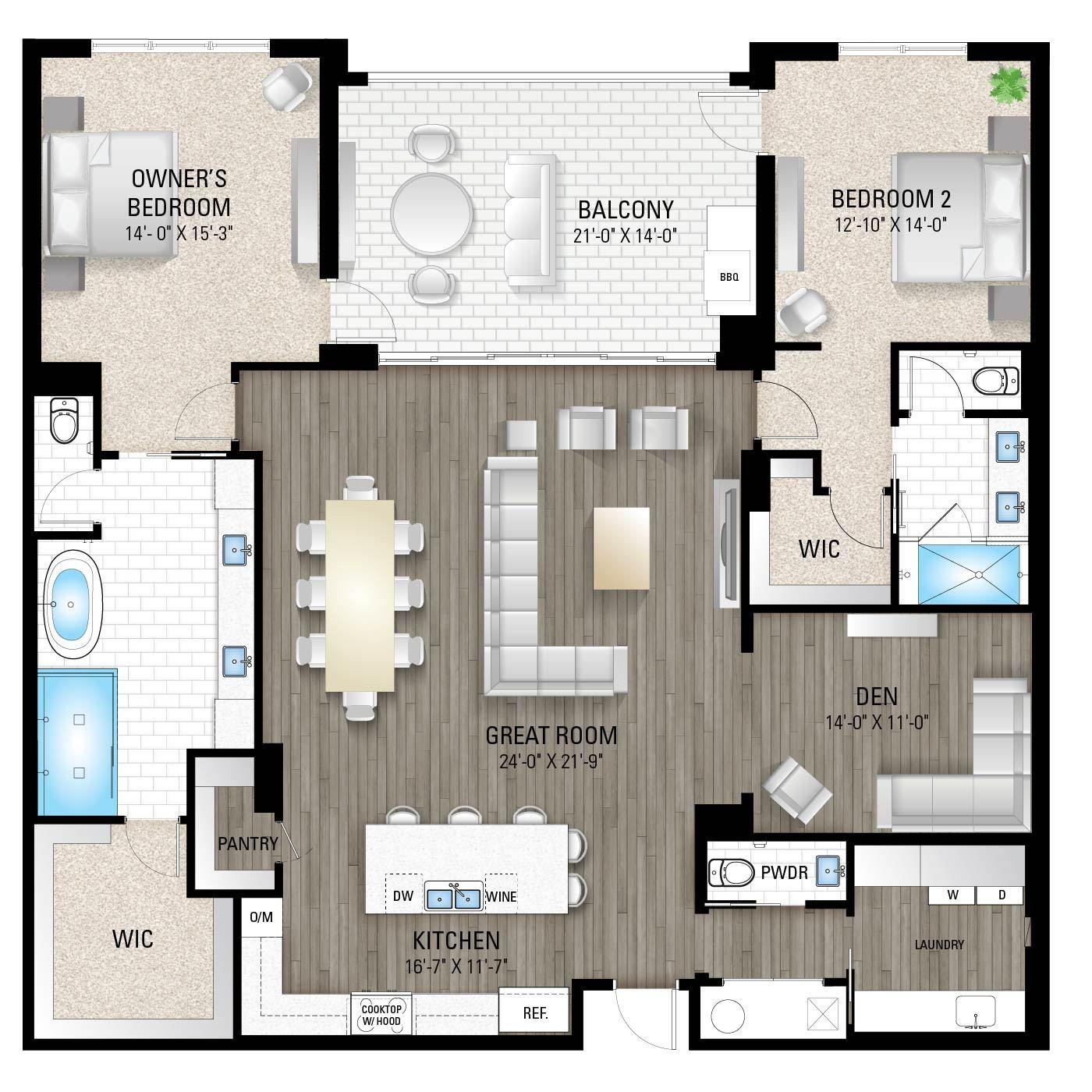 The Cheval:2 Bedrooms / 2.5 Baths / Den