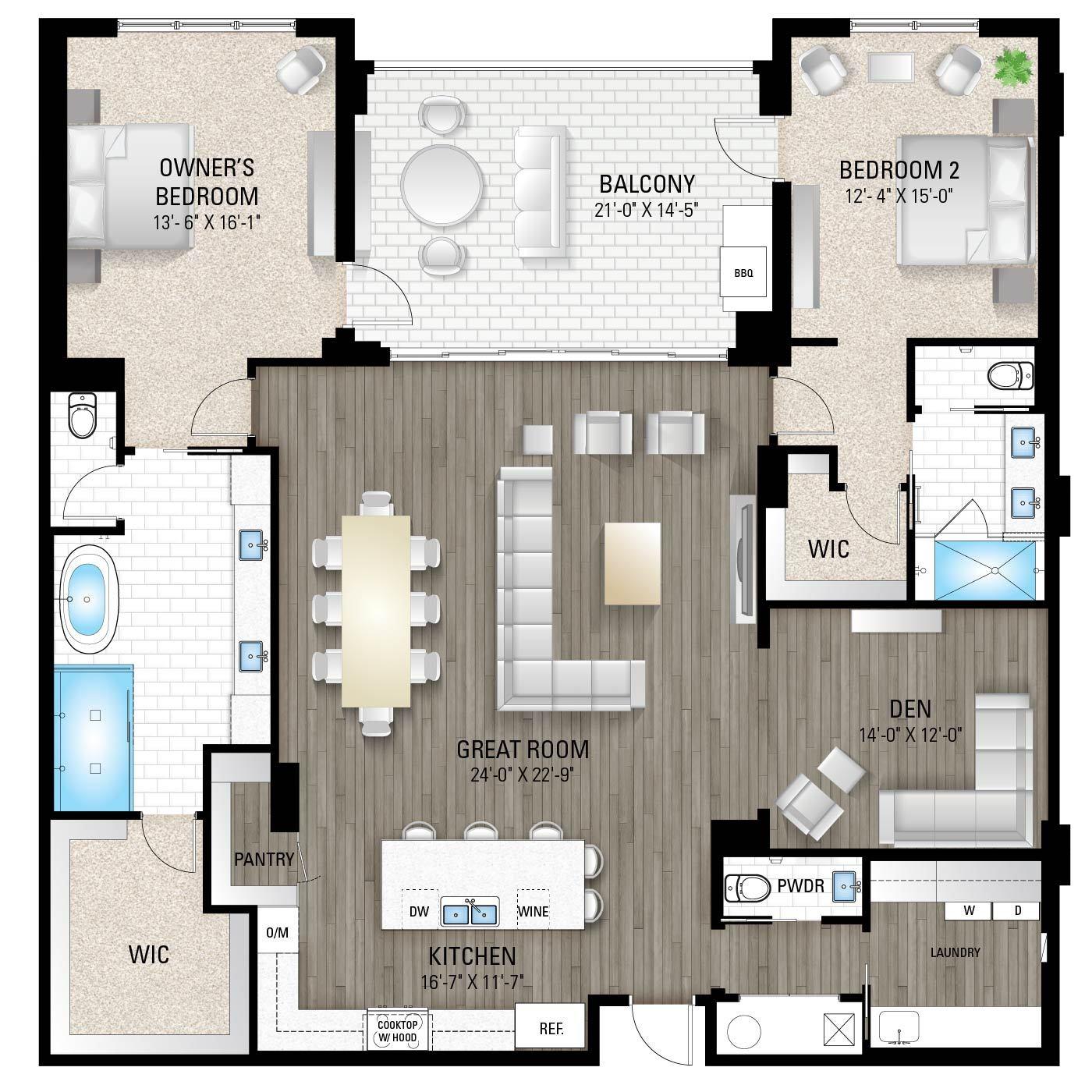 The Cheval 2:2 Bedrooms / 2.5 Baths / Den