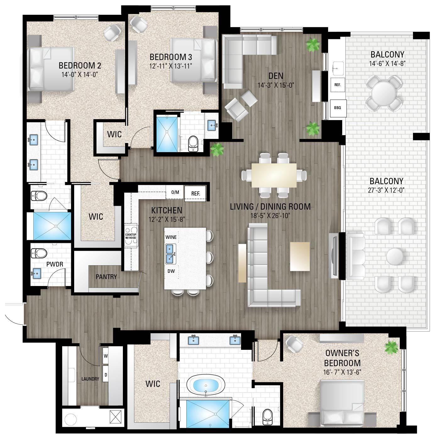 The Delray 2:3 Bedrooms / 3.5 Baths / Den