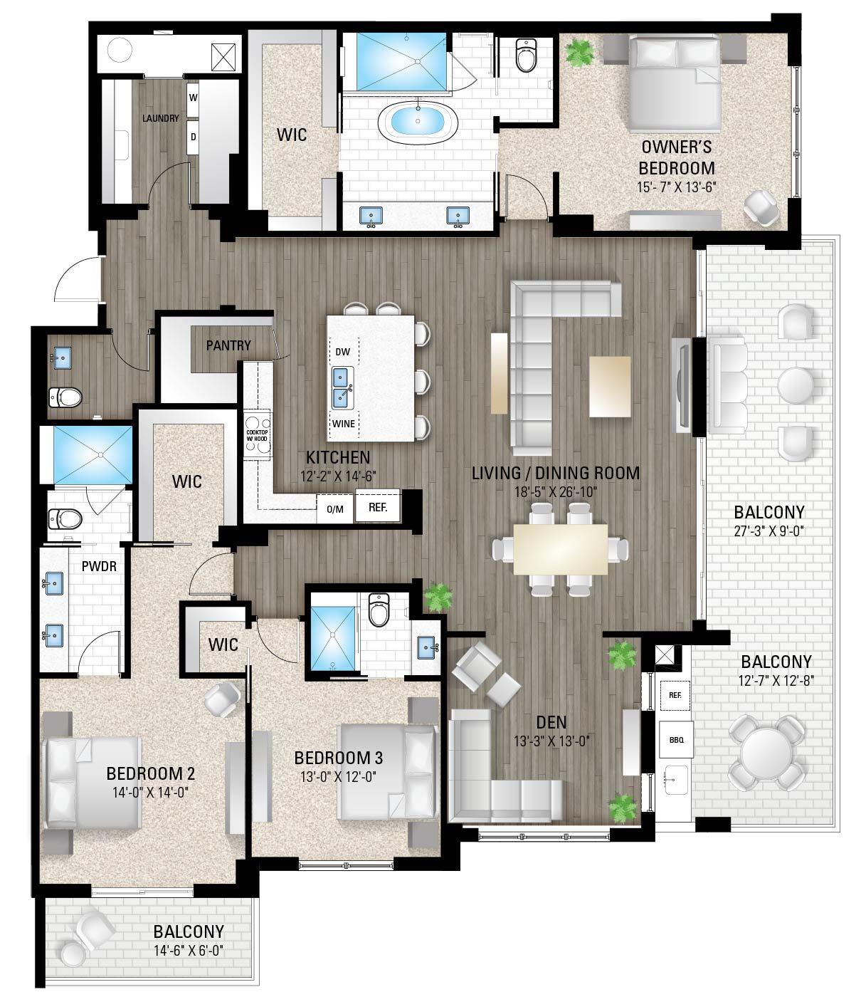 The Destin:3 Bedrooms / 3.5 Baths / Den